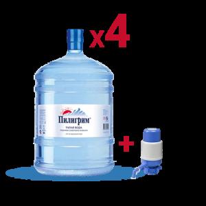 Вода «Пилигрим» питьевая негазированная 4шт*19л + помпа